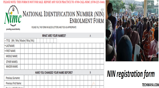 NIN registration form